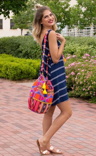 dress cute cute dress stripes spring summer summer dress outfit spring dress style fashion bag sandals
