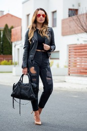cashmere in style,blogger,jacket,top,jeans,bag,shoes,sunglasses