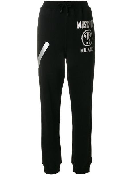 Moschino - Track trousers - women - Cotton - 40, Black, Cotton