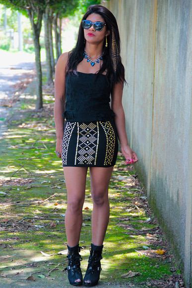 strass paillettes l skirt saia it girl estilo chic oculos de sol siça ramos moda it t-shirt cute outfits chic muse blogger romwe jumpers sapatos