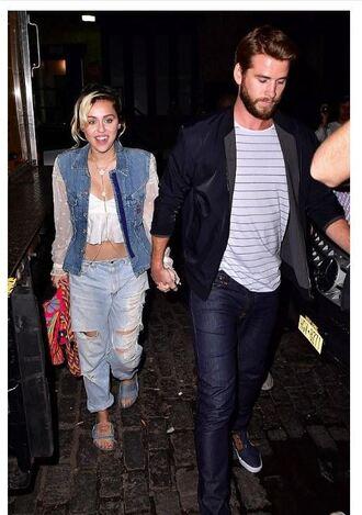 top crop tops jacket liam hemsworth miley cyrus mens t-shirt menswear ripped jeans jeans denim jacket