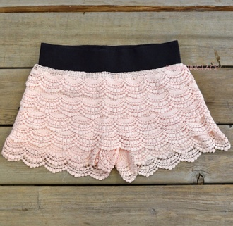 shorts lace shorts peach shorts crochet shorts lace