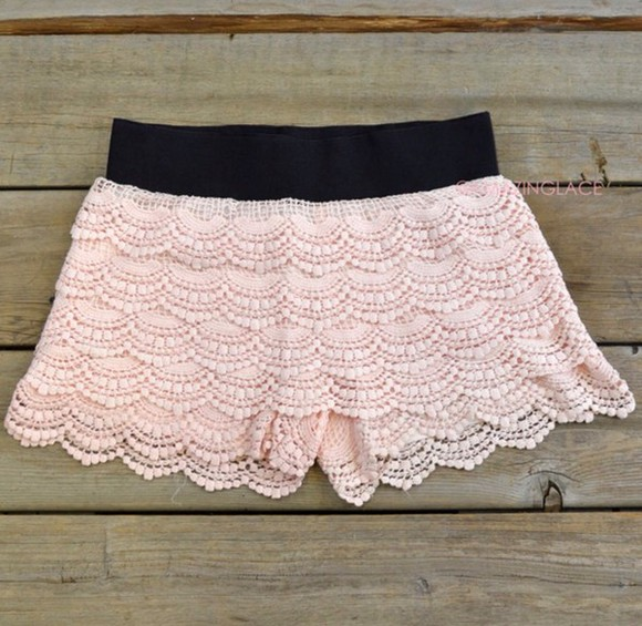 lace shorts crochet shorts shorts peach shorts lace
