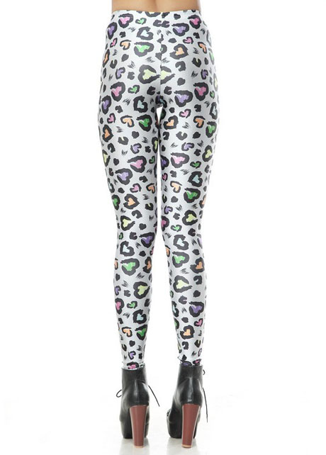 Cheap Romantic Style Colorful Heart Embellished Woman Printed Leggings in women bottoms from women clothing on sightface.com