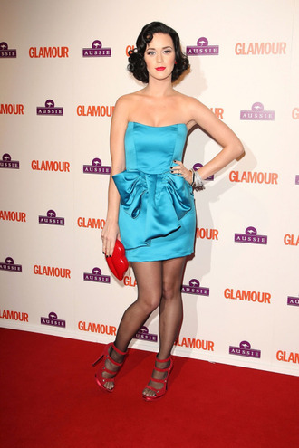 dress katy perry celebrity style celebrity blue dress pin up tube dress satin dress mini dress clutch sandals sandal heels high heel sandals tights