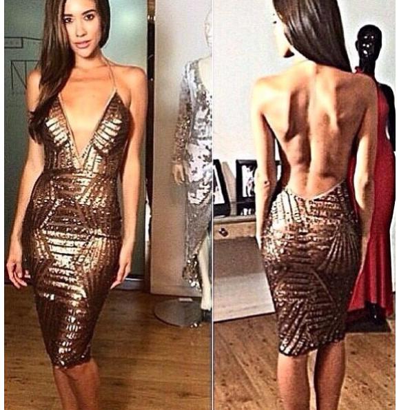 Fashion hot shining v dress