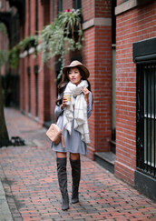 extra petite,blogger,shoes,scarf,dress,bag,hat,felt hat,mini dress,gucci,gucci bag,nude bag,over the knee boots