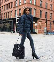 jacket,puffer jacket,jeans,skinny jeans,black boots,high heels boots,chanel bag,black bag