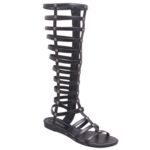 Bumper lory90 women's strappy knee high flat bottom zipper gladiator sandal boot