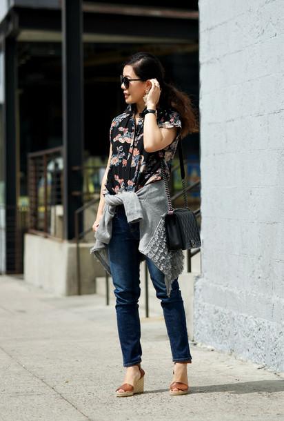 hallie daily blouse jeans bag sunglasses shoes jewels