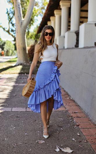 skirt blogger blogger style sunglasses wrap ruffle skirt tank top summer bag sandals