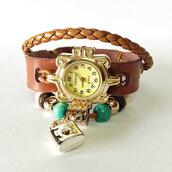 jewels,wrap watch,watch,charm bracelet,vintage style,leather watch,beaded