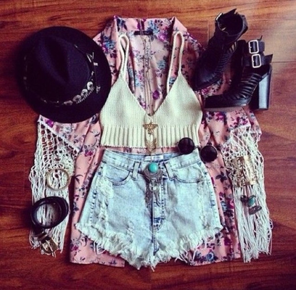 tank top outfit shorts top summer jacket hat jewels shoes sunglasses