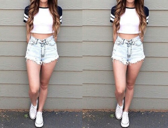 white top High waisted shorts swag