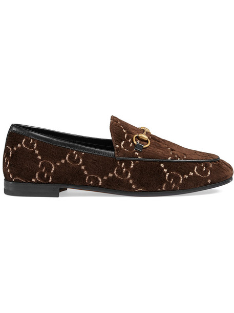 women loafers leather velvet brown shoes