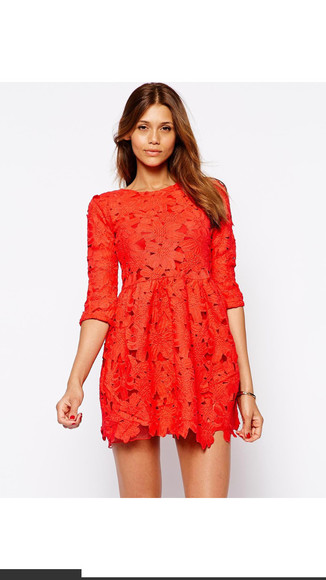 red dress short dress lace dress bright color australia