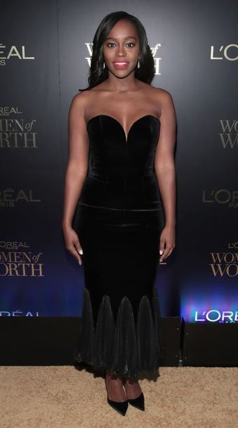 dress velvet Aja Naomi King all black everything bustier bustier dress gown prom dress black dress