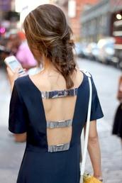 dress,silver,navy,open back,open backed dress,straps,cut-out,bows,back detail,open back dresses,metallic details,blue,navy dress,edgy,paris chic