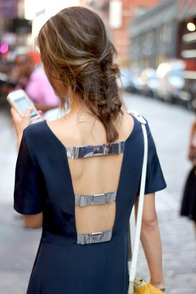 navy dress dress silver blue pretty dress bows back detail open back dresses metallic details edgy paris chic navy open back straps cutout