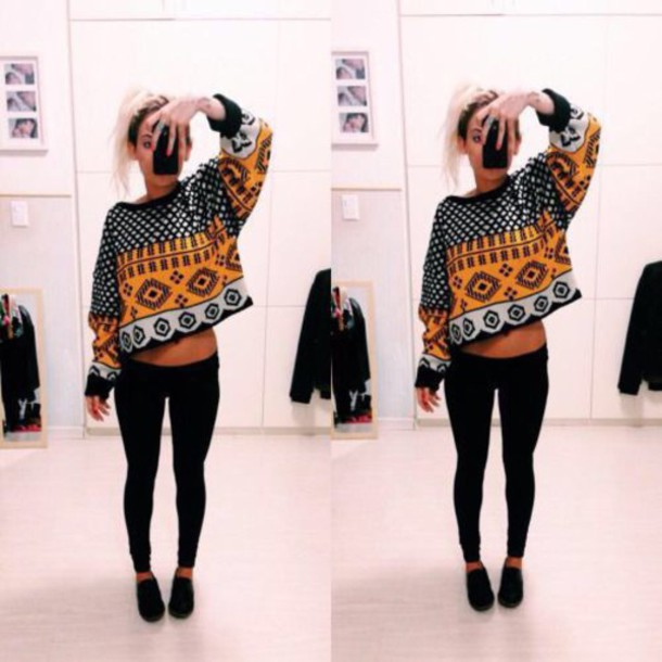 blouse orange black shirt t-shirt crop jumper sweater black skinny jeans vintage sweater sweater blonde hair aztec aztec sweater leggings hipster shoes yellow white crop tops cropped cropped sweater
