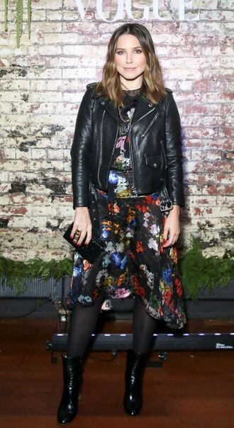jacket biker jacket dress midi dress fall outfits sophia bush ankle boots celebrity style