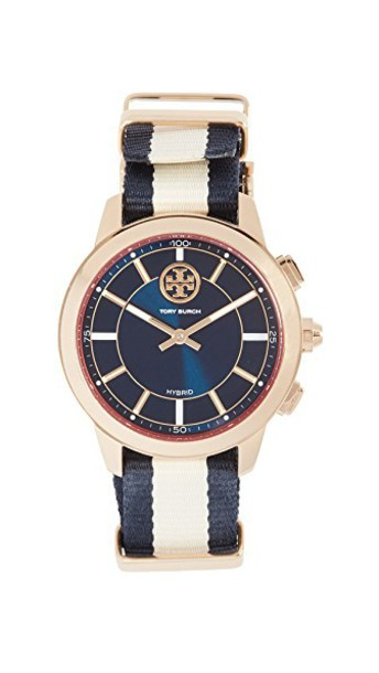 Tory Burch watch gold navy jewels