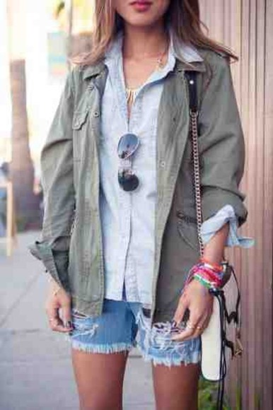 denim jacket army green jacket blue blouse sunglasses green army green jean shorts