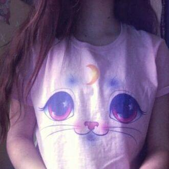t-shirt manga anime moon cute tumblr stars japan japanese sailor moon cats cats t-shirt cats tee animal