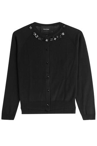cardigan embellished silk wool black sweater