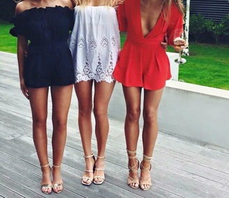 dress blue red dress white blue playsuit red playsuit white dress