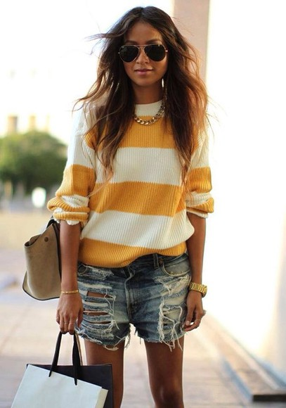 shorts denim sweater