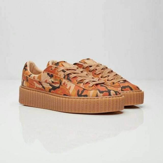 premium selection 571fe 1da48 Women's Rihanna Fenty x Puma Basket Creeper Camo Orange