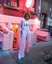 pants,pink pants,wide-leg pants,high waisted pants,sneakers,polo shirt,pink t-shirt,blazer,pink blazer,sunglasses