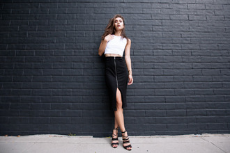 fashiontoast blogger top skirt shoes zipped skirt front slit skirt zip-up skirt midi skirt pencil skirt slit skirt crop tops white top white crop tops sandals sandal heels high heel sandals black sandals date outfit summer outfits