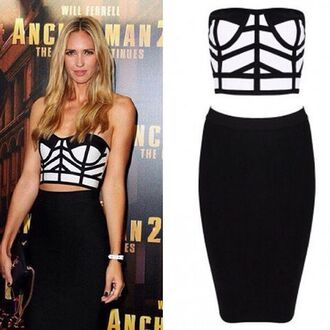 dress bustier party dress wots-hot-right-now bandage dress black and white dress two piece dress set two pieces bandage dress sexy bandage dress evening dress cocktail dress classy dress cute dress