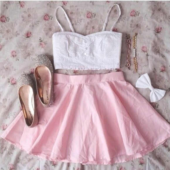 skirt pink pink skirt tank top summer crop tops shoes cute white crop top white bralette bralette baby pink baby pink skirt ballet pumps