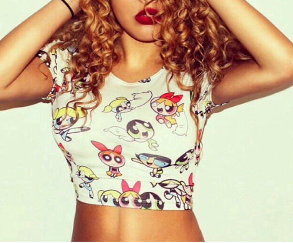 shirt crop tops 90s style the powerpuff girls the powerpuff girls blouse