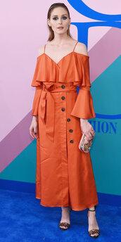 dress,orange,orange dress,sandals,sandal heels,olivia palermo,blogger,off the shoulder,off the shoulder dress,maxi dress,cfda