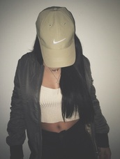hat,nike,nike hat,adidas,white,grey,tan,brown,baseball cap,jacket,blouse,bomber jacket,green bomber jacket,top