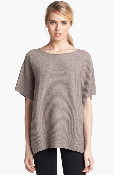 Vince Ribbed Poncho Sweater in Beige (Sand) | Lyst