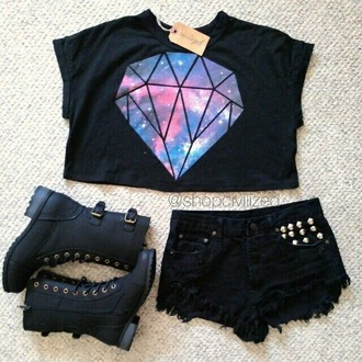 t-shirt diamonds crop tops universe galaxy print black grunge cool galaxy shirt galaxy diamond shirt space