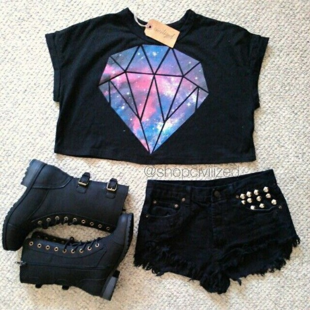 2fb9830b6 t-shirt, diamonds, diamonds, crop tops, universe, galaxy print ...