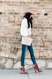 shoes,tumblr,boots,velvet,velvet boots,ankle boots,jeans,denim,blue jeans,sweater,white sweater,bag,pink bag,fisherman cap,hat