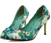shoes,green,peach,flowers,heel,point toe