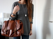 sweater,back to school,leather bag,bag,knitwear,cartable,collier,jewelry