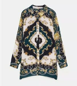 NWT Zara Woman Scarf And Chains Print Blouse Shirt Top Dark Green Size S-M