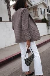 bag,dior saddle bag,dior bag,dior,black bag,blazer,handbag,jeans,white jeans,Accessory