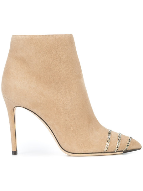 Jimmy Choo women ankle boots leather nude suede shoes