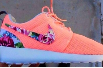 shoes nike nike roshe run floral fitness