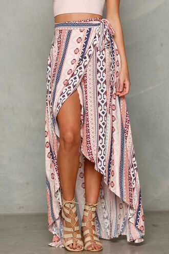 skirt tribal pattern lace up heels pink boho maxi skirt patterned skirt tie side slit skirt blue wrap around wrap skirt high low skirt pattern summer summer dress summer outfits aztec boho dress bohemian boho chic hippie hippie chic crop tops